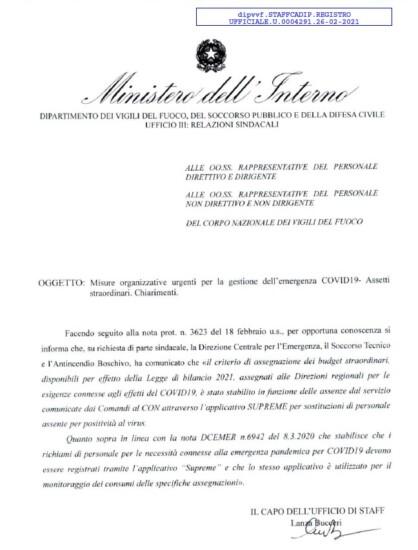 straordinario-covid MISURE ORGANIZZATIVE URGENTI PER LA GESTIONE DELL'EMERGENZA COVID19- ASSETTI STRAORDINARI. CHIARIMENTI